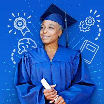 Graduating girl with diploma