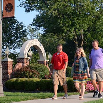 Students walking the campus at University of Findlay